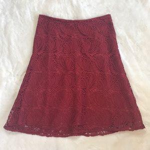 NWOT Ann Taylor Loft Red Skirt Size 0